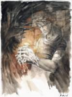 Dantova galerie: Na světle svíčky, akvarel