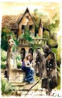 Dantova galerie: Cena růže, akvarel