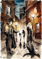 Dantova galerie: Prodavač stínu, akvarel